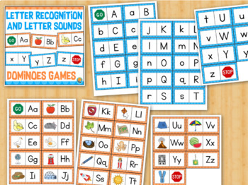 Letter Recognition and Letter Sounds Dominoes Matching Games