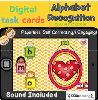Letter Recognition (lowercase) Digital Task Cards (Boom Cards)