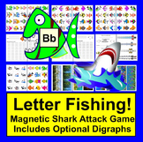 Letter Recognition OR Phonics Magnetic Fishing Game: SHARK Attack!