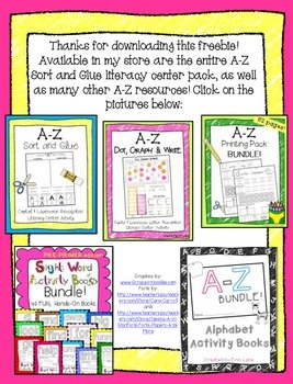A-Z Sort and Glue Literacy Center FREEBIE