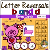 Letter Reversal Practice of b and d Valentine Pig Boom Car