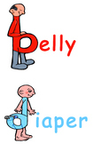 Letter Reversal b and d Visual Resource (belly and diaper)