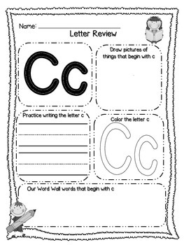 Letter Review Printables for ABC's