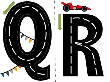 Letter Roads-Upper Case Racing Themed Alphabet