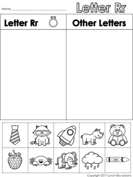 Letter Rr Beginning Sound Sort/Phonemic Awareness