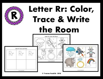 Letter Rr Color, Trace & Write the Room