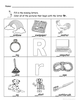 Letter Rr Words Coloring Worksheet