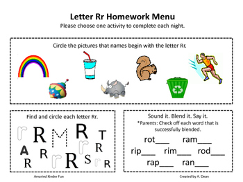 Letter Rr Homework Menu