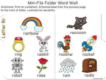 Letter Rr Mini-File Folder Word Wall Activity Pack