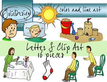 Letter S Clip Art - Color and Line Art 16 pc set