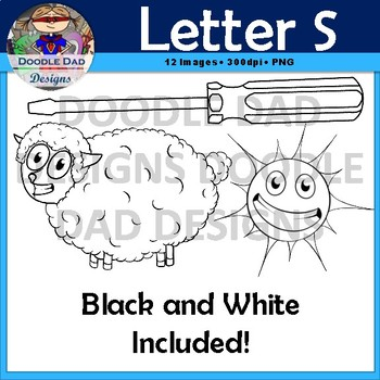Letter S Clip Art (Sun, Screwdriver, Snail, Shark, Sock, Sheep)