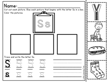 letter s cut and paste freebie by little learning tree tpt. Black Bedroom Furniture Sets. Home Design Ideas