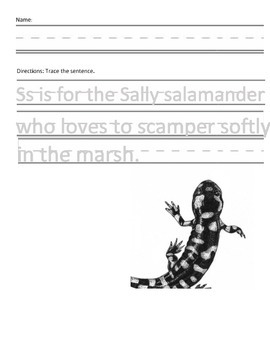 Letter S for Salamander Handwriting Practice and Questions!