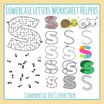 Letter S (Lowercase) Worksheet Helper Clip Art Set For Commercial Use