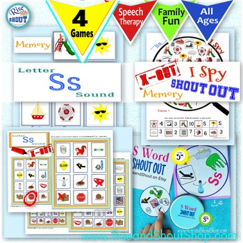 Letter S Sound 4 Game Bundle Shout Out, X Out, Memory. I Spy