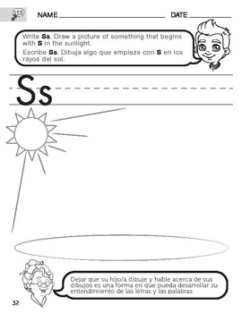 Letter S Sound worksheet with Instructions translated into Spanish for Parents