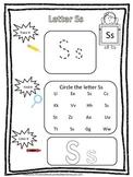 "Letter ""S"" Trace it, Find it, Color it.  Preschool printable worksheet. Daycare."