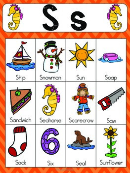 Letter S Vocabulary Cards