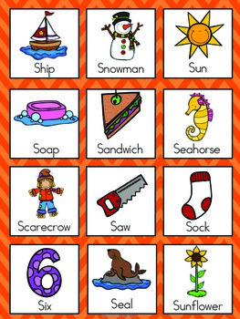 Letter S Vocabulary Cards by The Tutu Teacher | Teachers Pay Teachers
