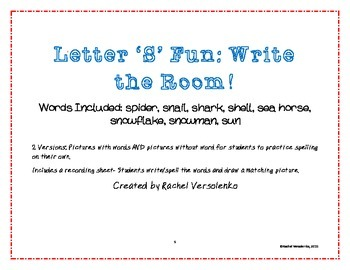 Letter 'S' Write the Room