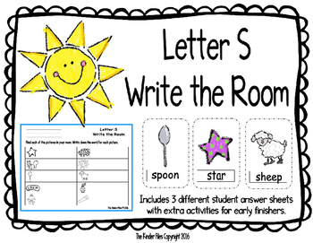 Letter S Write the Room- Includes 3 levels of answer sheets