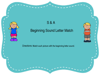 Letter S and A Beginning Sound Match Up