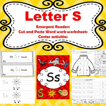 Letter S differentiated emergent reader/phonics and word work worksheets