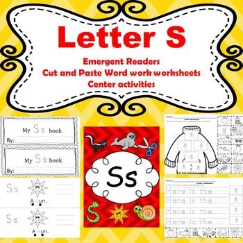 Letter S emergent readers/ centers/ worksheets
