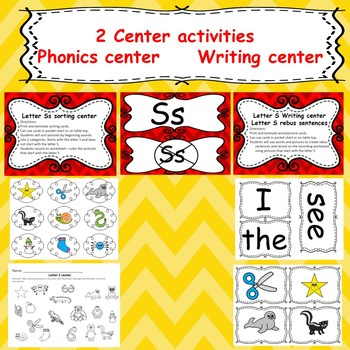Letter S activites (emergent readers, word work worksheets, centers)