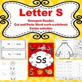 Letter S activites (emergent readers, word work worksheets
