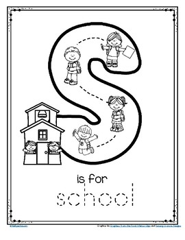 graphic about Printable Letter S titled Letter S is for Faculty Hint and Coloration Printable Cost-free by way of
