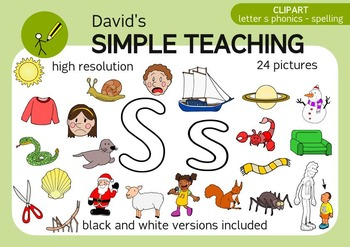 Letter S phonics - spelling clipart with free preview