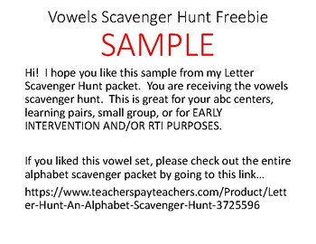 Letter Scavenger Hunt FREEBIE SAMPLE