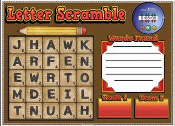 Letter Scramble / Boggle Game For SMARTBOARD