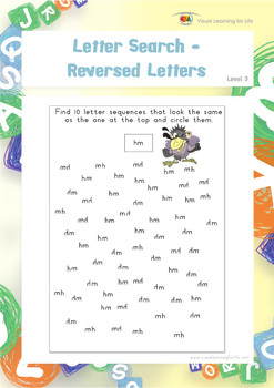Letter Search-Reversed Letters (Visual Perception Worksheets)