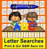 Letter Recognition Letter Searches:  26 Letter Searches NO PREP!
