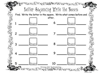 Letter Sequencing (Summer Theme): Write the Room