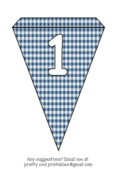 Printable bunting display bulletin letters numbers and more: Blue Gingham
