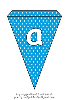 Printable bunting display bulletin letters numbers and more: Blue Polka