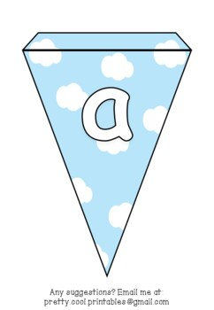 Printable bunting display bulletin letters numbers and more: Blue Sky