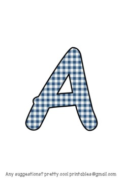 Printable display bulletin letters numbers and more: Blue Gingham