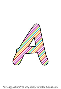 Printable display bulletin letters numbers and more: Rainbow Stripes