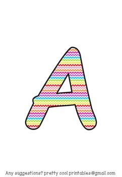 Printable display bulletin letters numbers and more: Rainbow Zigzag