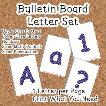 Printable display bulletin letters numbers and more: Dark Blue Polka Dot