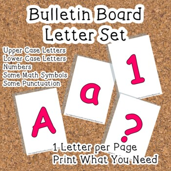 Printable display bulletin letters numbers and more: Pink Solid