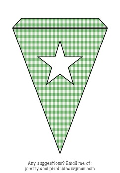 Printable bunting display bulletin letters numbers and more: Green Gingham