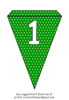 Printable bunting display bulletin letters numbers and more: Green Polka