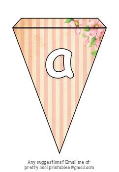Printable bunting display bulletin letters numbers and more: Pink Vintage
