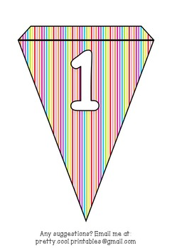 Printable bunting display bulletin letters numbers and more: Rainbow