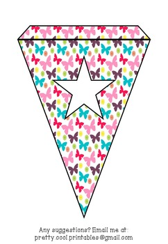 Printable bunting display bulletin letters numbers and more: Butterfly